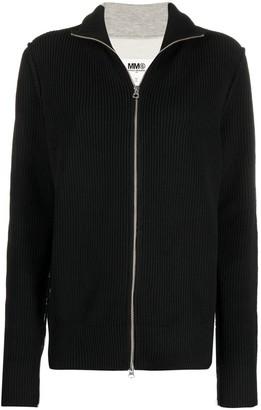 MM6 MAISON MARGIELA Ribbed Contrast Panel Zipped Sweatshirt