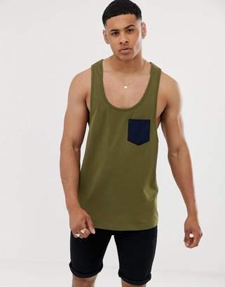 Asos Design DESIGN extreme racer back vest with contrast pocket in green