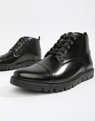 Walk London Timmy lace up boots in high shine black