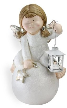 "Northcape 17.75"" Glittered Angel with Candle Lantern Christmas Table Top Decoration"
