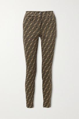 Fendi Stretch-jacquard Skinny Pants - Brown