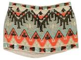 AllSaints MultiColor Sequined Aztec Print Mini Skirt