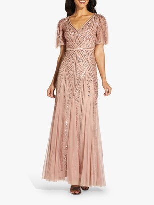 Adrianna Papell Flutter Sleeve Beaded Maxi Gown, Rose Gold