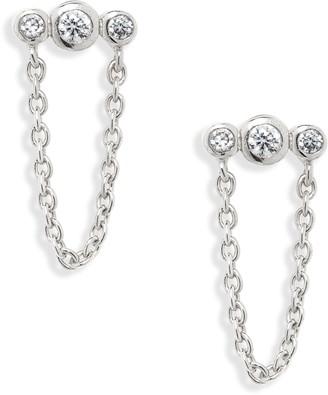 Argentovivo Cubic Zirconia Chain Earrings