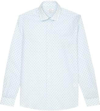 Reiss Joey - Long Sleeved Polka Dot Shirt in Soft Blue