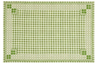D'Ascoli Set Of Four Ionna Embroidered Cotton Placemats - Green Print
