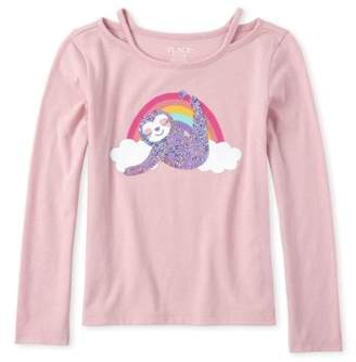 Children's Place The Girls 4-16 Rainbow Sloth Graphic Cut-Out Long Sleeve T-Shirt