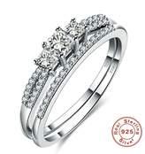 Epinki Fashion Jewellry Plated Womens Wedding Ring Cubic Zirconia 2 Ring Set Size 8