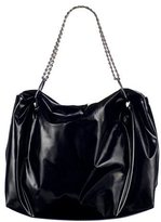 Large Patent Hobo with Chain -Black