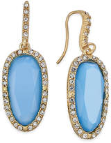 INC International Concepts Gold-Tone Pave and Blue Stone Drop Earrings, Created for Macy's