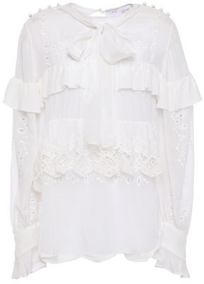 IRO Hazard Pussy-bow Broderie Anglaise-paneled Ruffle-trimmed Crepe De Chine Blouse
