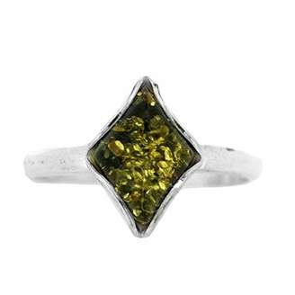N. Nova Silver Green Amber Diamond Shaped Ring Size 54) in presentation box
