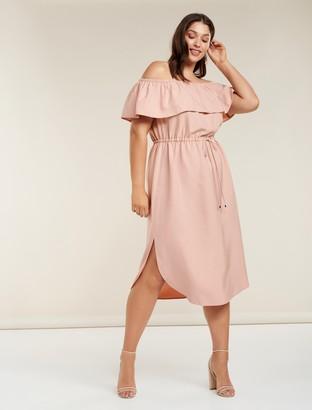 Forever New Ruby Curve Bardot Maxi Dress - Blush - 16