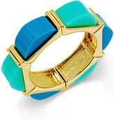 ABS by Allen Schwartz Gold-Tone Blue and Aqua Multi Colored Stretch Bracelet