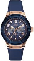 GUESS Women's Blue Silicone Strap Watch 39mm U0571L1