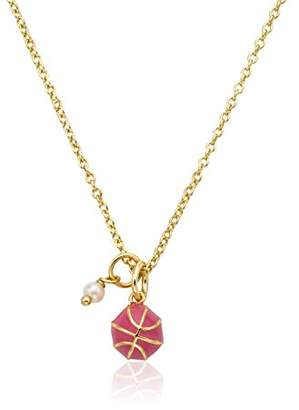 """Little Miss Twin Stars """"Little Leagues"""" 14k Gold-Plated Enamel Basketball Accented with Pearl Dangle Pendant Necklace"""