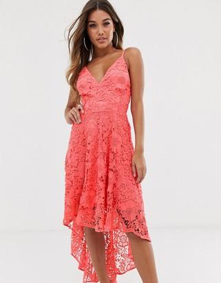 Club L London crochet high low dress-Pink