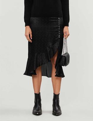 The Kooples High-waisted woven midi skirt