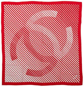 One Kings Lane Vintage Chanel Red & White Logo Silk Scarf - Vintage Lux