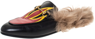 Gucci Black Leather And Fur Princetown Flame Horsebit Flat Mules Size 36