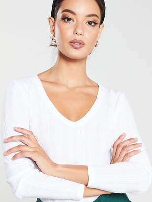 Very Ribbed Long Sleeve Top - White