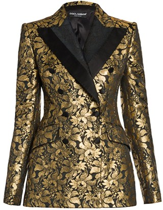 Dolce & Gabbana Double Breasted Goldtone Jacquard Jacket