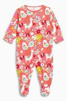 Next Girls Pink Floral Animal Print Sleepsuit (0mths-2yrs)