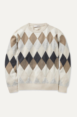 BRUNELLO CUCINELLI KIDS Sequin-embellished Argyle Wool-blend Sweater - Off-white