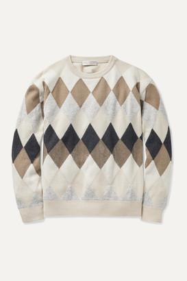 Brunello Cucinelli Kids - Sequin-embellished Argyle Wool-blend Sweater - Off-white