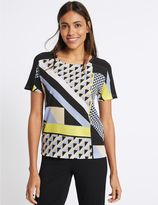 Marks and Spencer Geo Print Woven Front Short Sleeve T-Shirt