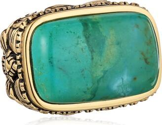 """Barse Basics"""" Genuine Turquoise Scrolled Bronze Ring Size 6"""