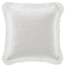 Laura Ashley Solid White Crochet European Sham Bedding