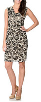 London Times T0737M Floral Contrast Cowl Dress