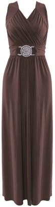 ZEE FASHION Womens Cocktail Buckle Plus Big Size Maxi Dress Ladies Wrapover Evening Dresses Black