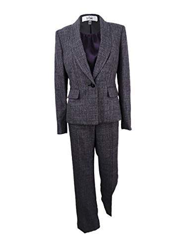 Le Suit Women's Plaid Melange 1 Button Pant Suit with Cami
