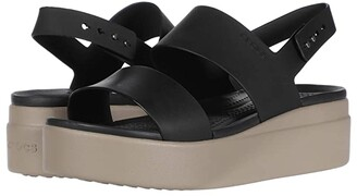 Crocs Brooklyn Low Wedge (Black/Mushroom) Women's Wedge Shoes