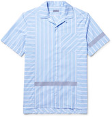 Lanvin Camp-Collar Reflective-Trimmed Striped Cotton-Poplin Shirt