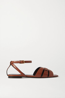 Saint Laurent Nu Pieds Woven Leather Sandals - Tan