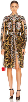 Burberry Costanza Animal Print Dress in Dark Mustard | FWRD