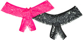 Angelina Pink & Black Sheer Lace Open-Gusset Thong Set