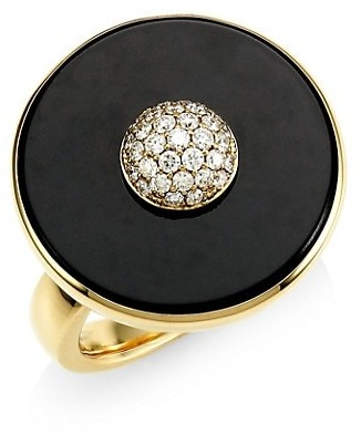 Maria Canale Pyramide 18K Yellow Gold, Diamond & Black Onyx Disc Ring