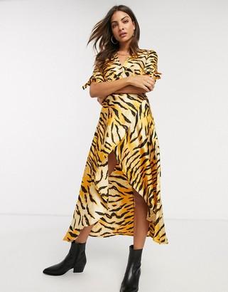 AX Paris wrap midi dress in tiger print