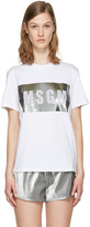 MSGM White Metallic Logo T-shirt