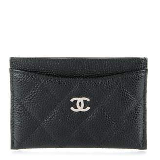 Chanel Card Holder Quilted Caviar Silver-tone Black