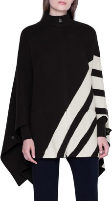 Akris Intarsia Stripe Reversible Cashmere Cape