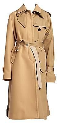 Sacai Women's Wool & Cotton Half-&-Half Trench Coat