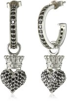 "King Baby Studio Crowned Heart"" Small Pave Black Cubic Zirconia Crowned Heart Hoop Earrings"