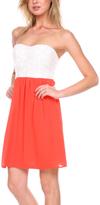 Stanzino White & Coral Color Block Strapless Dress