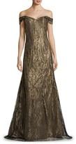 Rene Ruiz Collection Off-The-Shoulder Embellished Gown