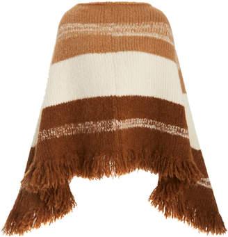 NILI LOTAN Ellery Fringe-Trimmed Striped Alpaca-Blend Poncho